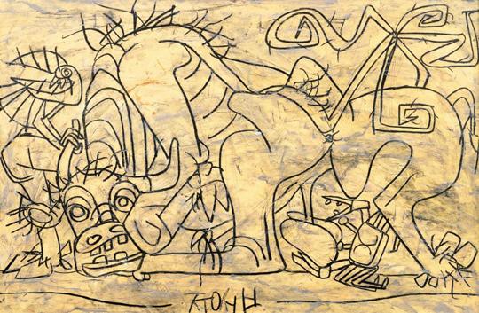 이중섭의 1954년 작 '소와 새와 게'. 캔버스를 살 여유가 없었던 이중섭이 연필로 종이 위에 그린 그림. 연필선 하나로 날렵한 생동감을 줬다