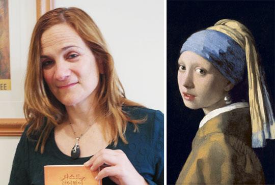 """영국 런던도서전에서 만난 소설가 트레이시 슈발리에는""""내 소설의 주인공은 대부분 지리적 또는 정신적으로 아웃사이더""""라고 말했다. 오른쪽은 요하네스 페르메이르의'진주 귀고리 소녀'."""