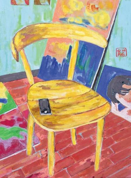 고흐풍의 의자 작품 사진