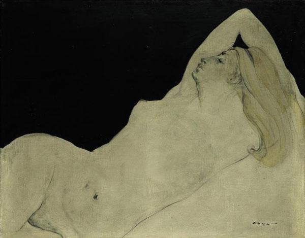 권옥연 화백이 아내 이병복 여사를 모델로 그린 누드화'나부'(裸婦·1965년 작).