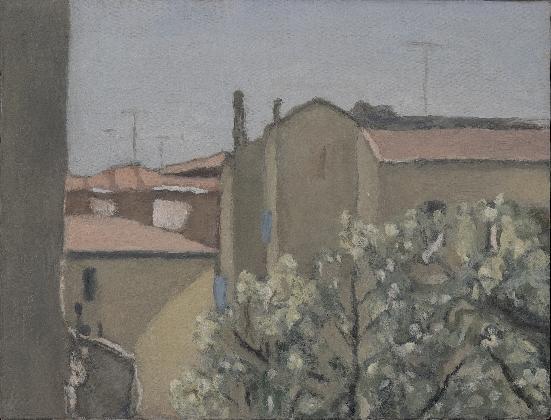 조르조 모란디, <비아 폰다차의 정원>, 1958, 캔버스에 유채, Museo Morandi, Bologna-Italy (V. 1116)