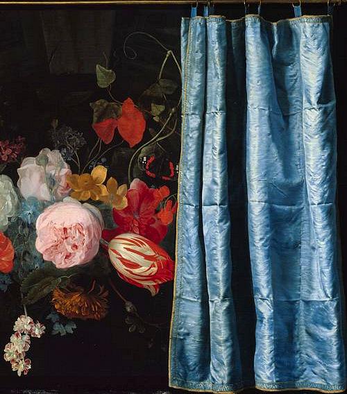 Adriaen van der SpeltTrompe-l'Oeil Still Life with a Flower Garland and a Curtain (detail)1658