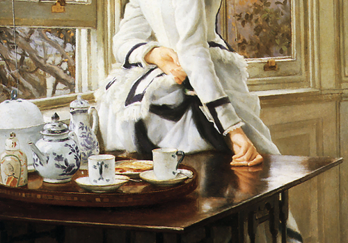 wycherley:James Tissot (1836-1902), Reading the News (detail), 1874
