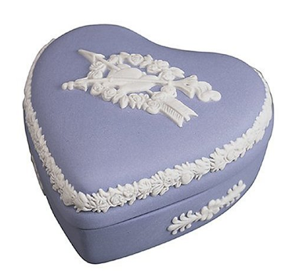 blue Wedgewood heart shaped box