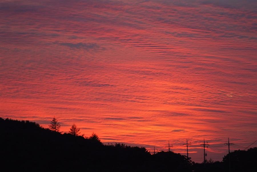 붉게 물든 저녁 노을이 환상적인 함백산의 일몰.