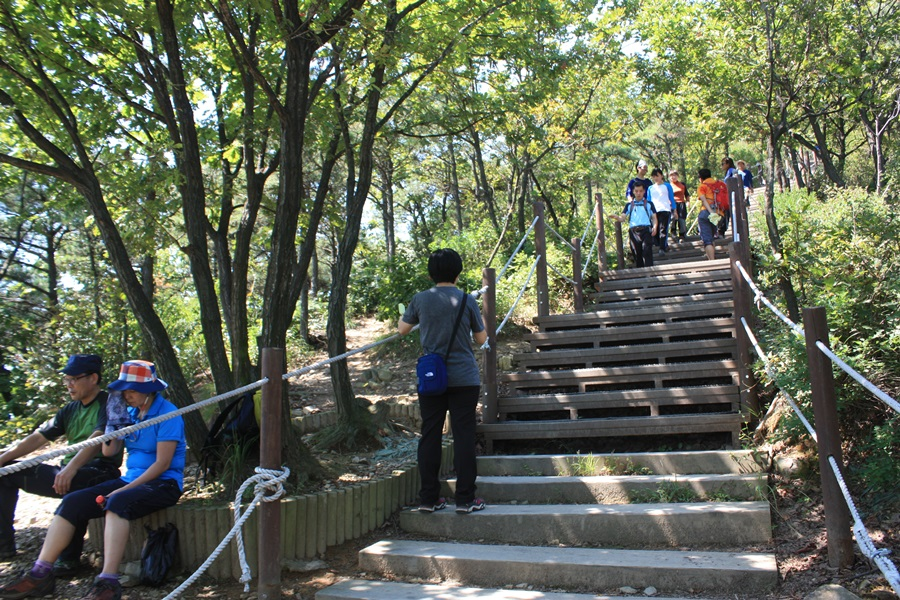 계양산 정상 직전에 마지막 가파른 계단길이 이어져 많은 사람들이 힘들게 오르고 있다.