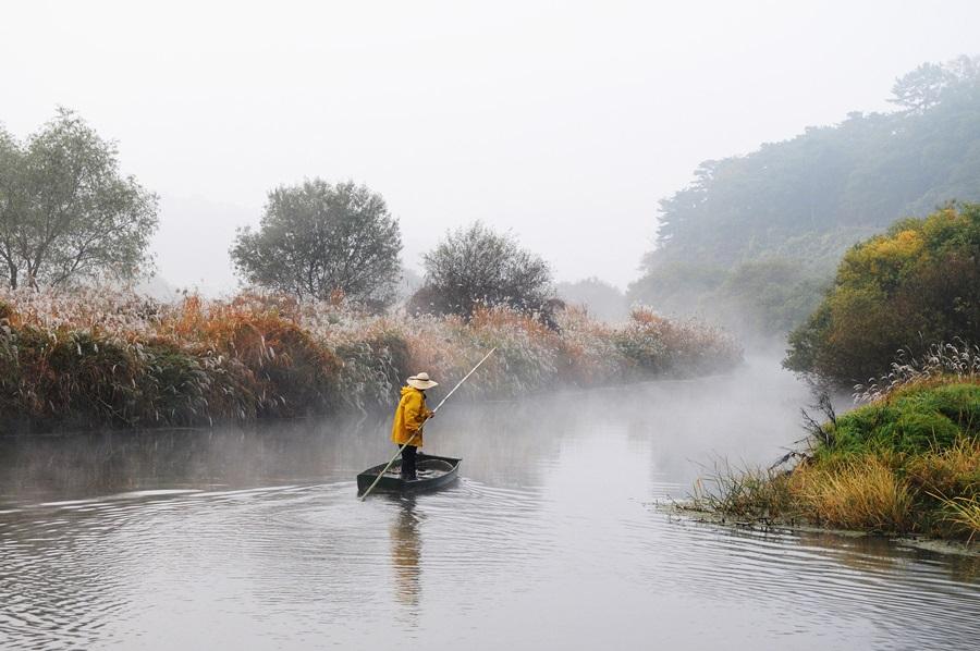 우포늪과 이른 아침 스멀스멀 솟아나는 물안개, 그 안에 고기잡이 나가는 어부가 환상적으로 어울린다.
