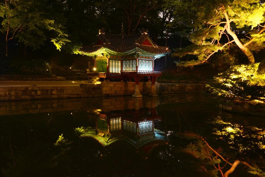 연못에 비친 창덕궁의 야경이 더욱 운치가 있어 보인다.