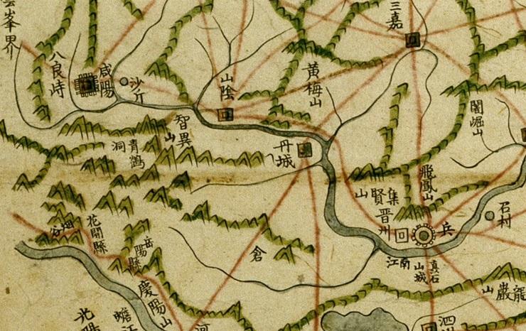 지리산의 중심에 청학동의 위치가 표기된 1790년 발행된 팔도지도의 경상도 부분도. 규장각 소장.