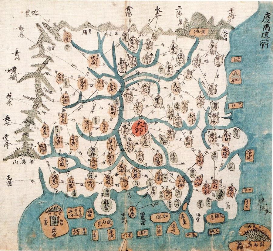 태백산에서 지리산에 이르는 산줄기가 경상도의 울타리로서 인상적으로 그려졌다. 1800년대 간행된 지도로 서울역사박물관 소장.