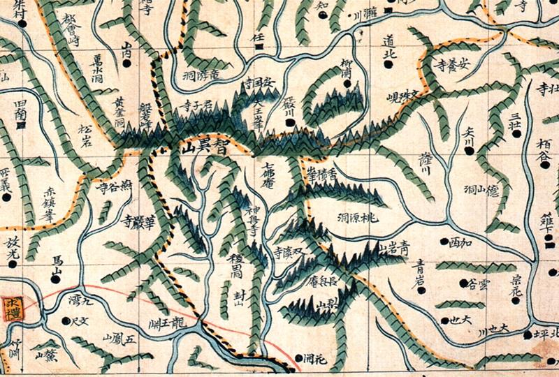 동여도의 지리산. 산줄기 형세가 강한 필치로 표현되었고, 천왕봉과 반야봉이 대표지명으로 표기돼 있다.