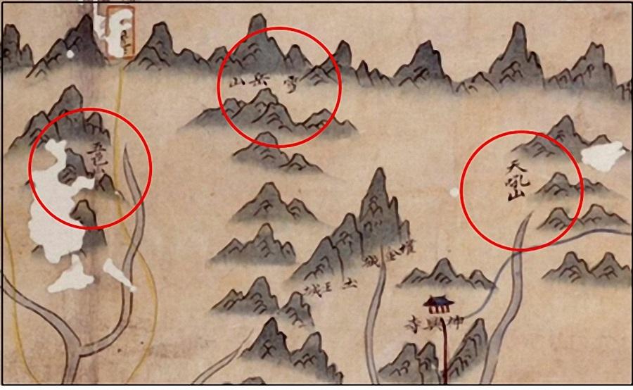 비변사인방안지도(양양부, 부분도)의 설악산권 표현.