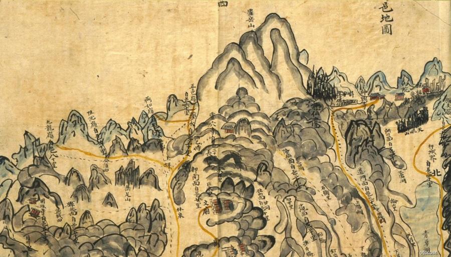 1872년 지방지도(강원도, 양양) 부분도. 회화식으로 설악산의 모습과 주요 경관을 표기했다.