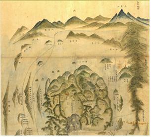 오른쪽 위의 모서리에 삼각산이 뚜렷하게 표현된 대부지도. 서울대 규장각 소장본.