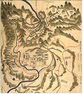 용의 모습으로 고지도에 표현된 계룡산. 그림 왼편이 계룡산이다. (1872년 지방지도, 연산현)