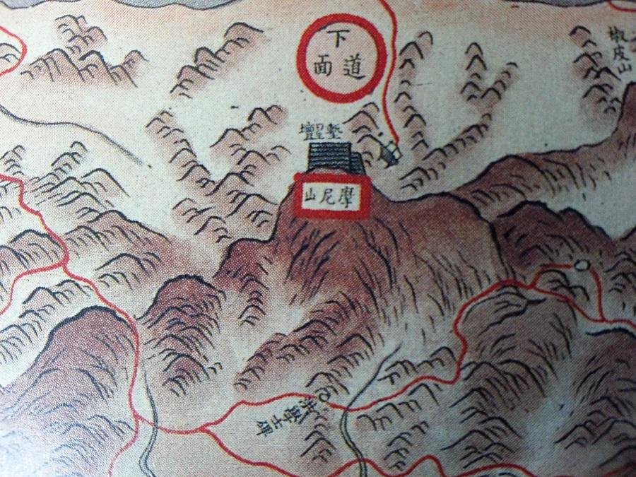 마니산 꼭대기에 사실적으로 그려진 참성단. (1872, 강화부전도, 서울대 규장각 소장)