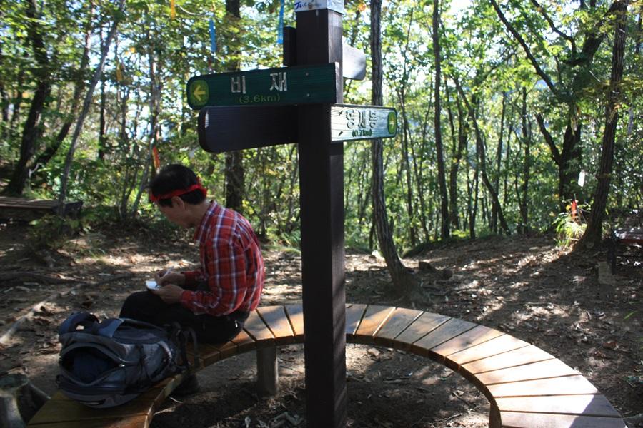 갈령삼거리에서 한 등산객이 방향과 위치를 제대로 파악하고 있다.