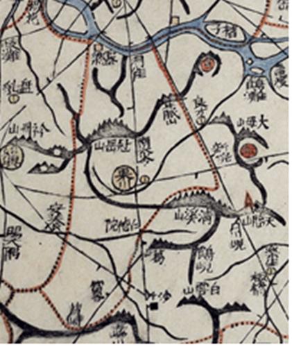 1872년 군현지도(과천)엔 관악산과 청계산, 대모산 등 지금 서울 남쪽의 모습이 자세히 그려져 있다.